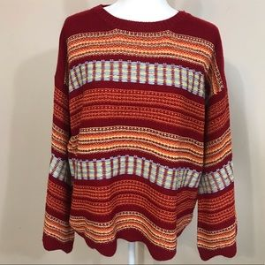 UMGEE BELL SLEEVE STRIPED SWEATER RED ORANGE EUC